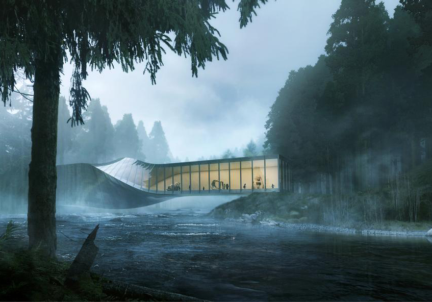 "alt=""Ponti e architettura - Kistefos Museet - Norvegia"""