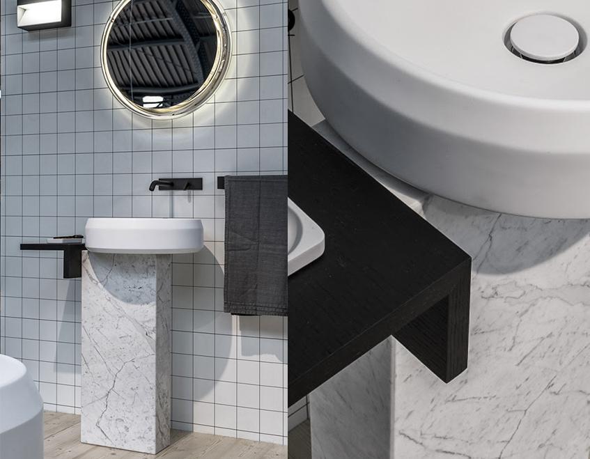 """alt=""""Architect@work 2017 - MIlano - Agape -Lavabo Lariana a colonna - Progetto di Patricia Urquiola"""""""