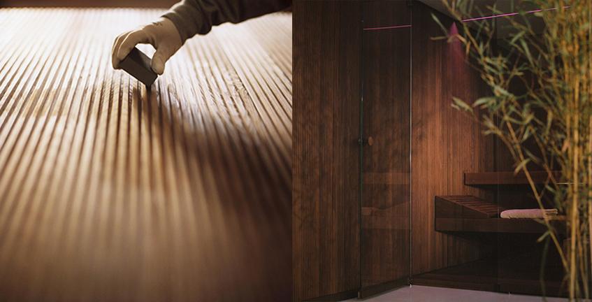 "alt=""Architects@work Milano 2018 - Effegibi - Sistema BodyLove - Legno termotrattato"""