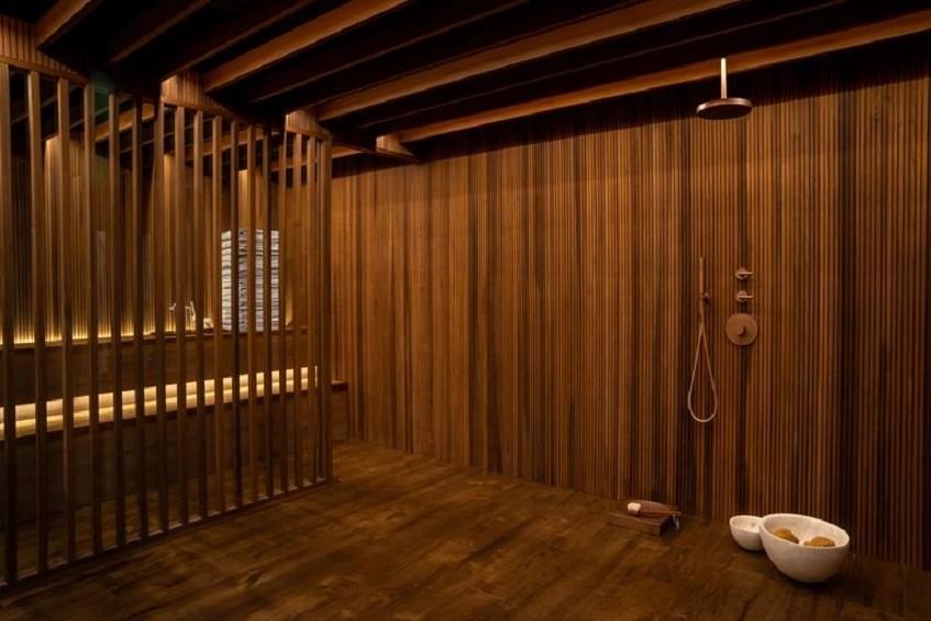 """alt=""""Benessere e ospitalità - Matteo Thun - Elle Decor - Palazzo Morando Milano - Sauna"""""""
