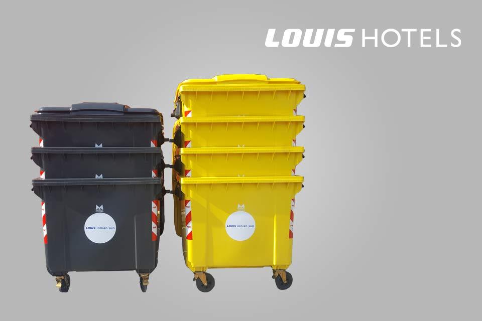 Αποστολή στα ξενοδοχεία Louis Hotels 6 πλαστικούς κάδους 1100lt γκρί και 4 κίτρινους 1100lt