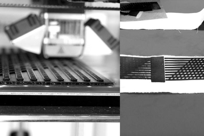 3D Druck der Matrix und aufschmelzen auf die Baumwoll-Fasern.