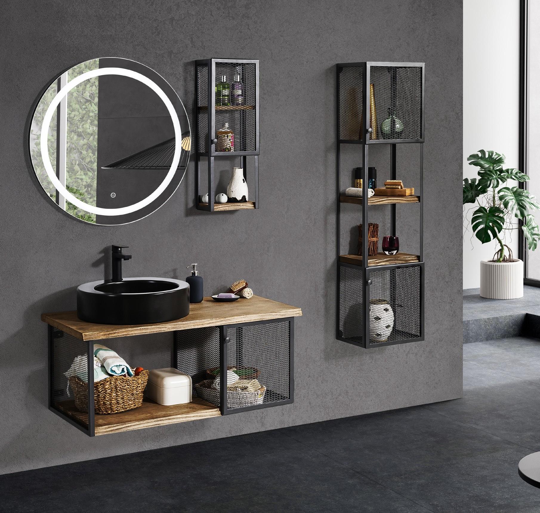salle de bain metal peint noir mat
