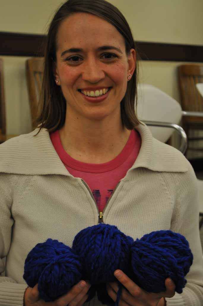 Robin with her yarn