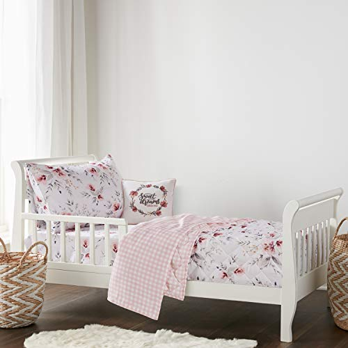 levtex baby adeline toddler bed set blush pink grey floral 5 piece set includes reversible quilt 42 x57 fitted sheet 28x52 flat sheet