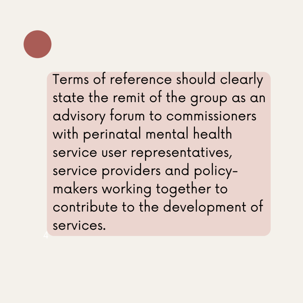 Terms of reference should clearly state the remit of the group as an advisory forum to commissioners with perinatal mental health service user representatives, service providers and policy-makers working together to contribute to the development of services.