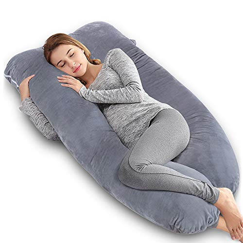 angqi 60 inch pregnancy pillow u shaped full body pillow for pregnant women side sleepers maternity pillow with velvet