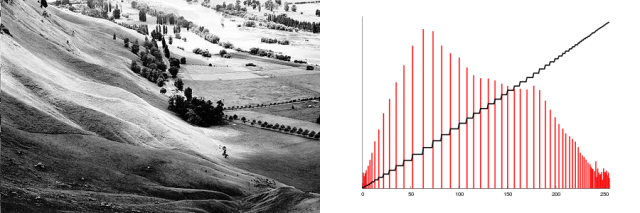 An example of a high-contrast image, with its histogram, after applying histogram equalization.