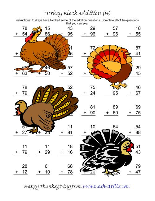 Turkey Block Addition Two Digit Plus Two Digit H