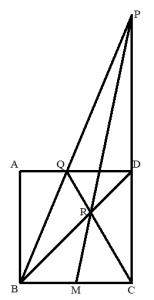 正方形の辺の中点の作図
