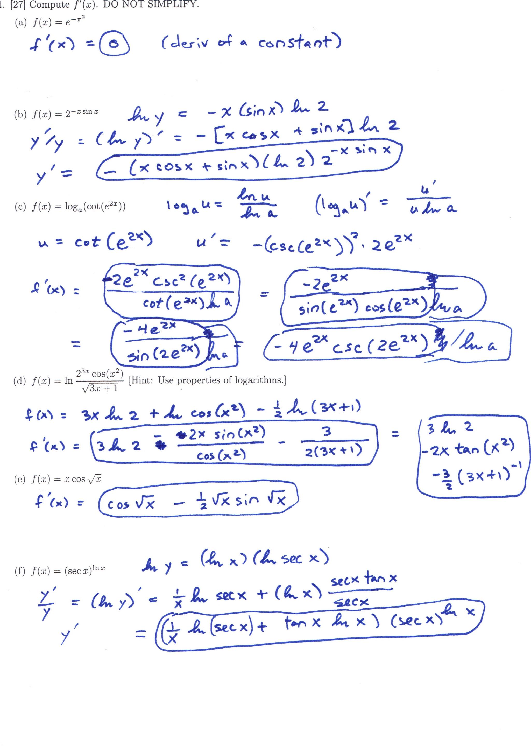 Dr Schechter S Calculus Classes Fall