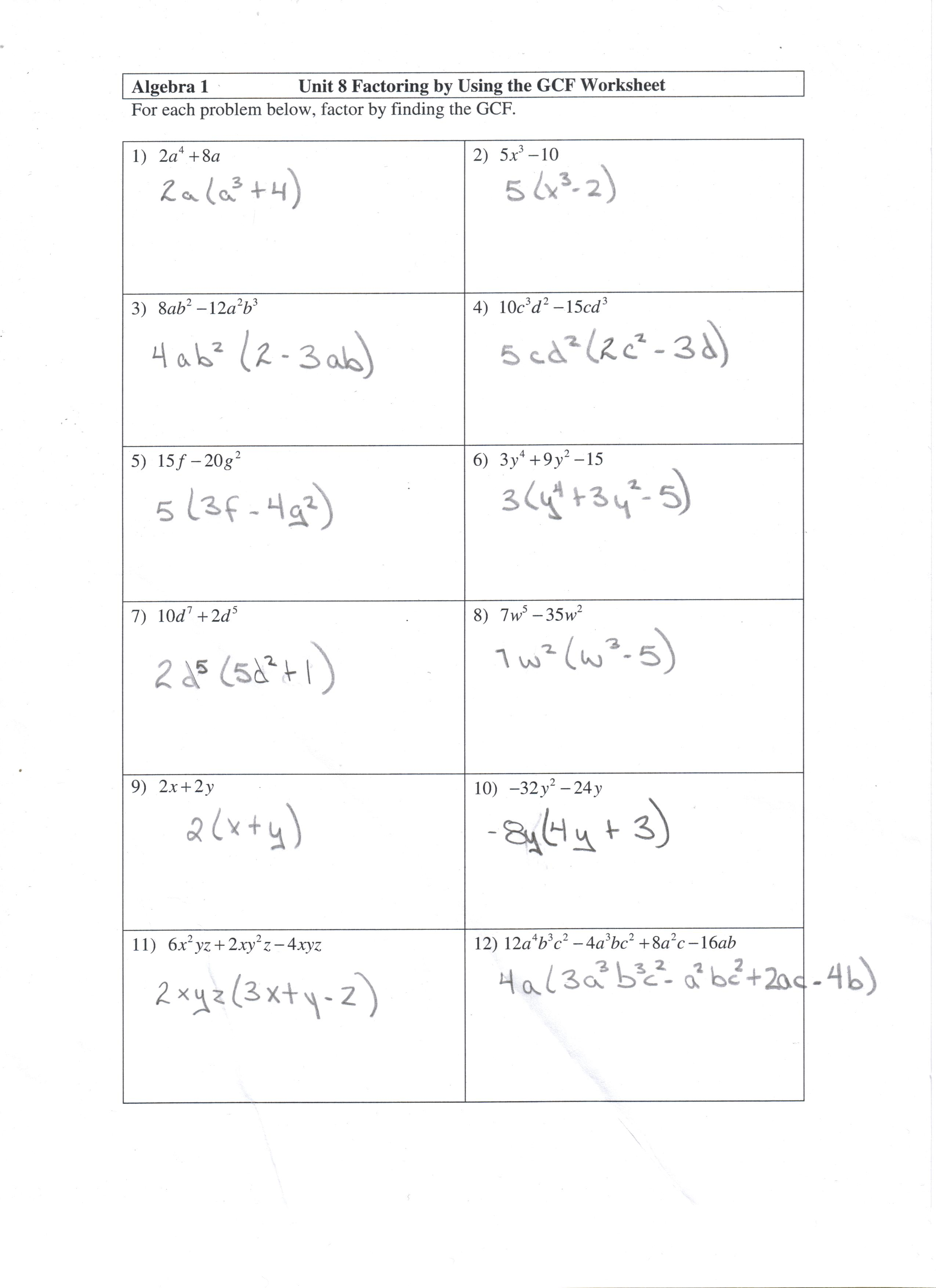 Factoring Gcf Worksheet And Answers