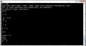 GNU bc in console window