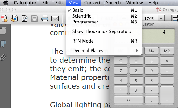 Selecting Mac OS X Calculator Mode