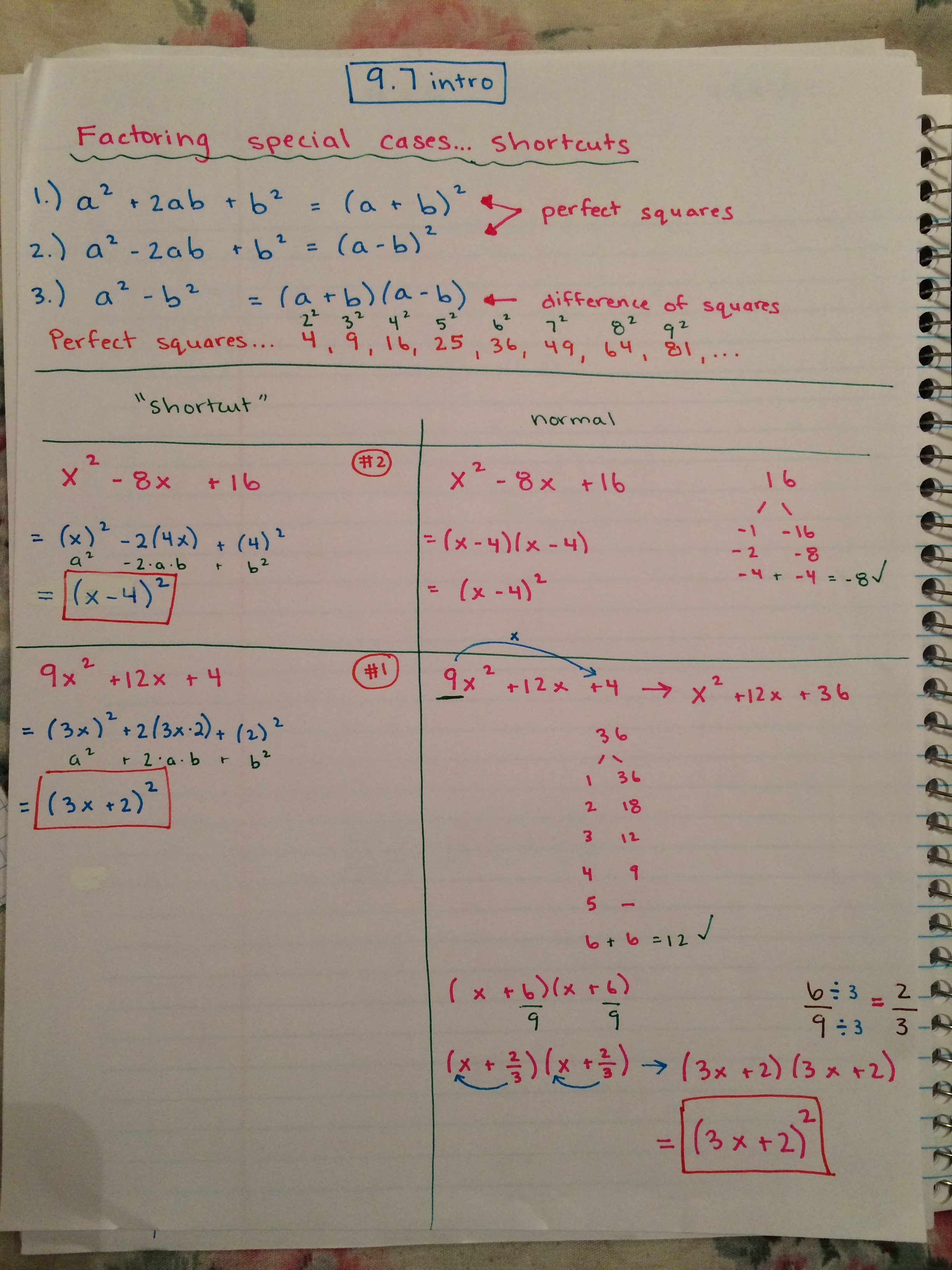 Factoring Quadratics Special Cases Math By The Mountain