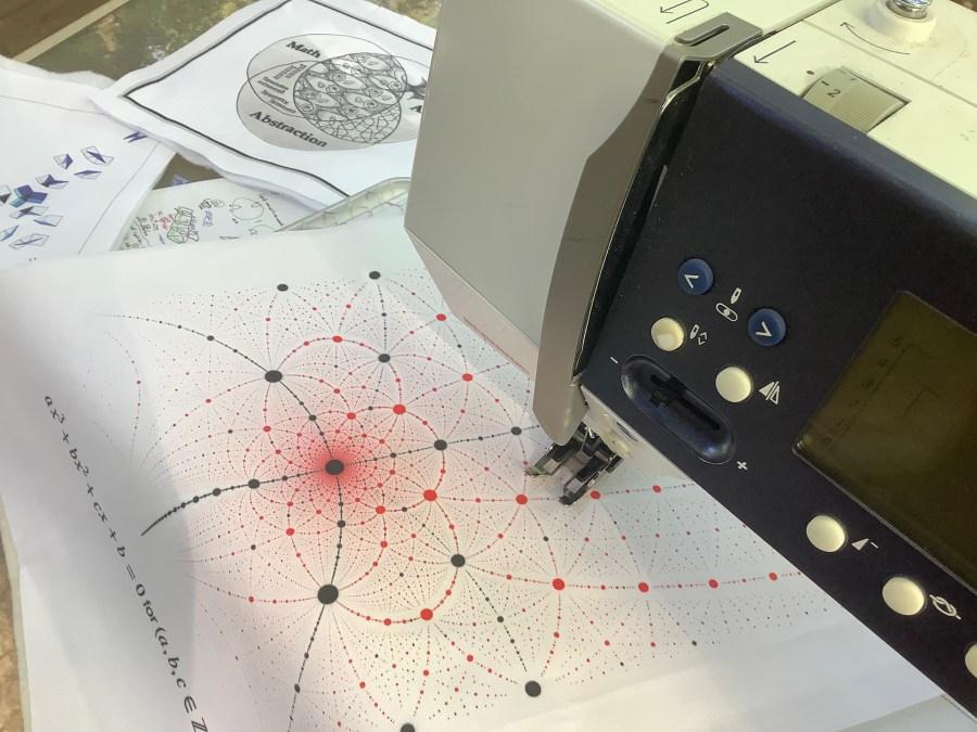 Mathematical formulas of Mathemalchemy on Dominique's Ehrmann's sewing machine