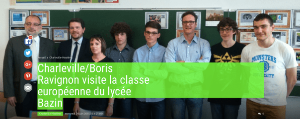 Charleville/Boris Ravignon visited The european class of the Lycée BAZIN. These students created an audioguide app running on Android devices.