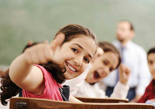 thumbs up student