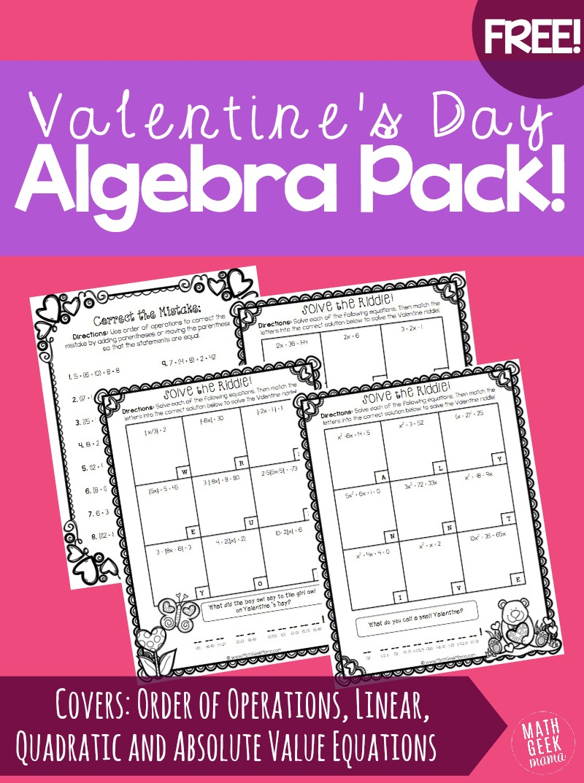 Valentines Day Algebra Practice Pack FREE