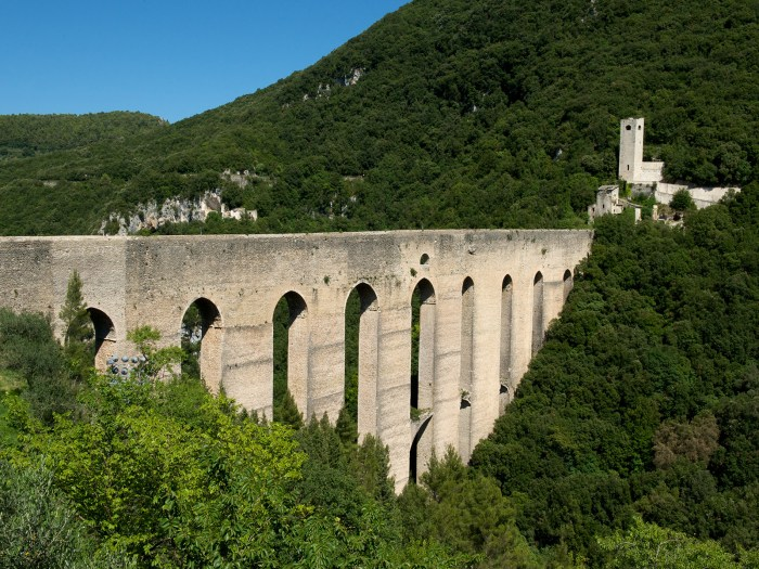 a stone aqueduct outside the town of Spoleto, Umbria, Italy