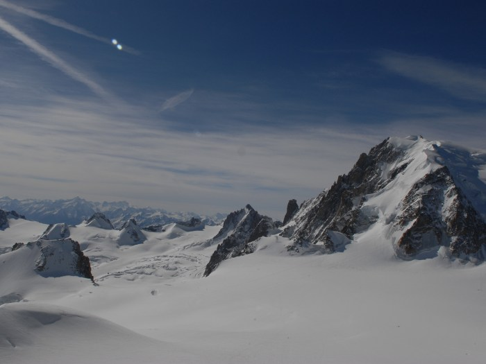 view from the top of the Vallee Blanche glacier in the French Alps, above Chamonix, France