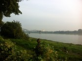 Morgens beim Nordic Walking am Rhein - September 2014