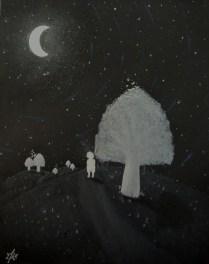 "Artwork on paper named ""Cosmos"" . Acrylic , spraypaint , ink , pastel and paint marker on a 50cm/65cm piece of Black paper . To look while listening ""comfortably numb"" by pink floyd ,http://www.youtube.com/watch?v=y7EpSirtf_E . ""Tout art est lutte contre le destin, contre la conscience de ce que le cosmos porte d'indifférent à l'homme ."" André Malraux ."