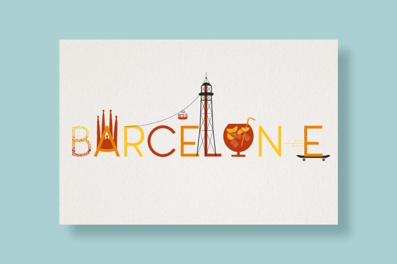 Carte Typostale Barcelone