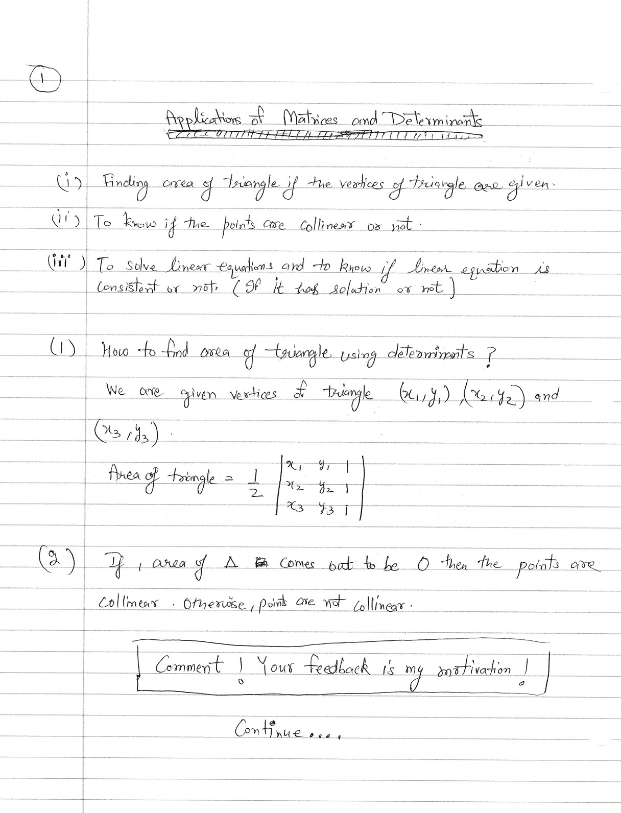 How To Calculate Area Of Triangle Using Determinant