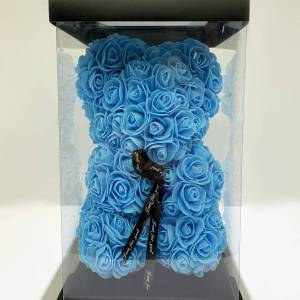 Light Blue Forever Teddy Bear with Small Artificial Roses