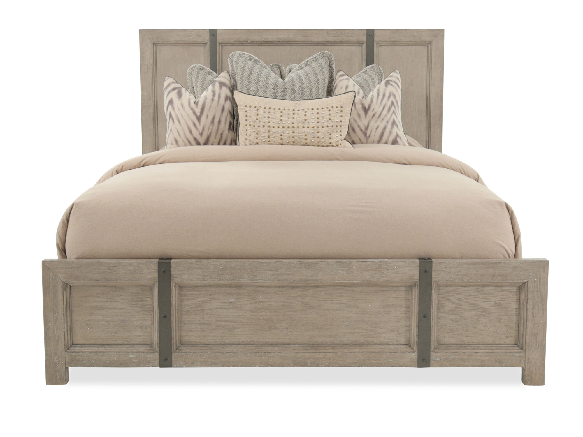 """65"""" Traditional Metal Strap Panel Bed In Weathered Gray"""
