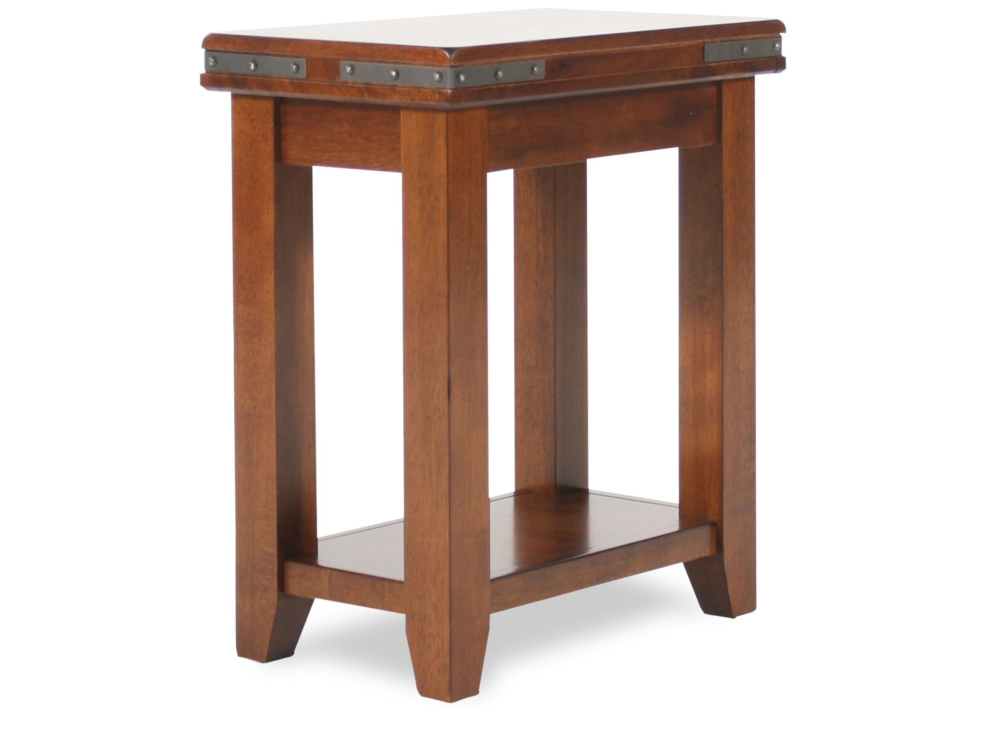 Round Small Traditional End Table In Warm Brown