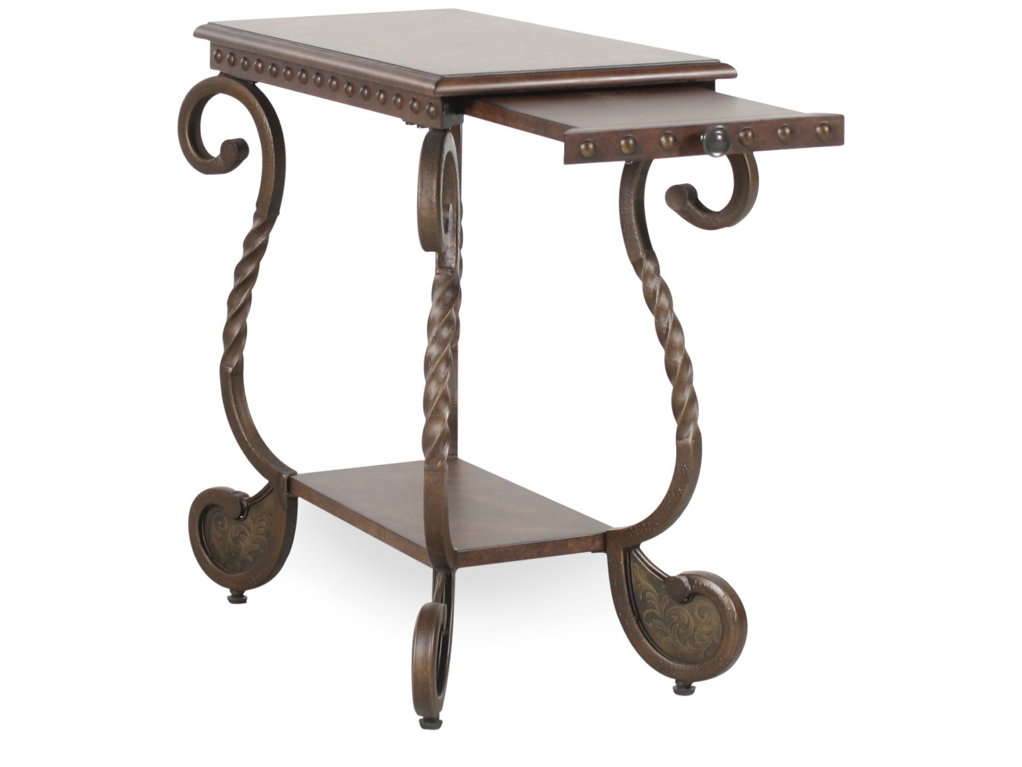 Rectangular Scrolled Legs Traditional Chairside Table In