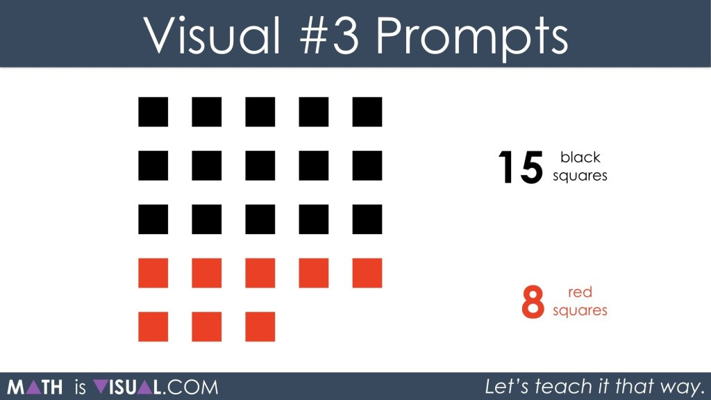 Adding Positive and Negative Integers Visual Prompts 3a - 15 black plus 8 red