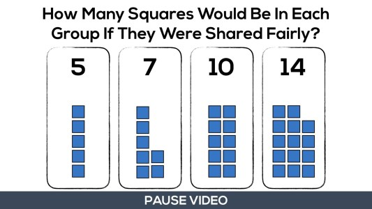Measures of Central Tendency - Mean - How many squares would be in each group if they were shared fairly
