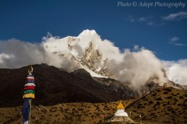 Stupa at the foot of the Himalayas