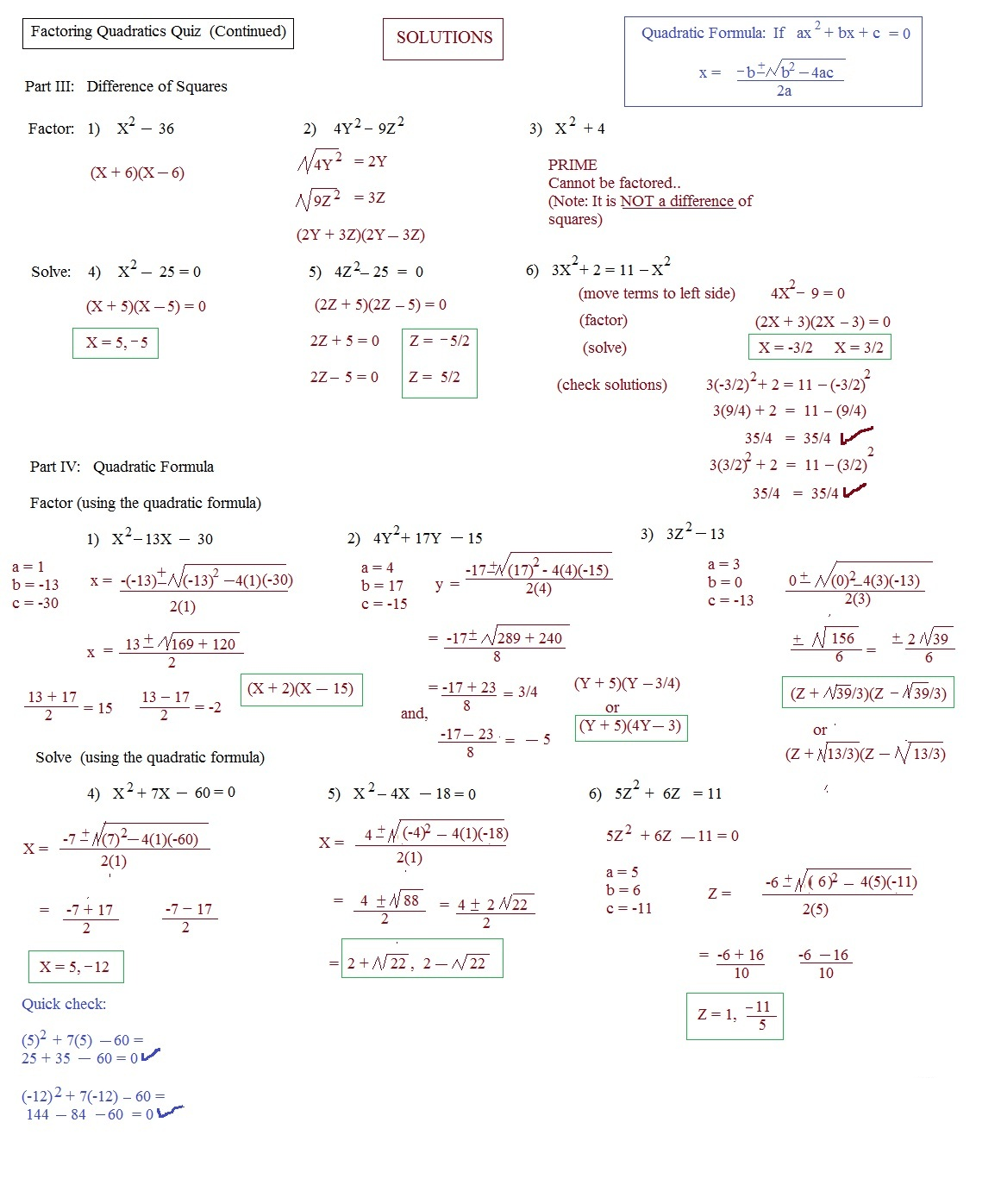 Quadratics Worksheet
