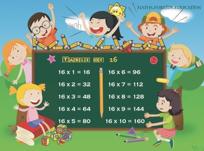 table of 16