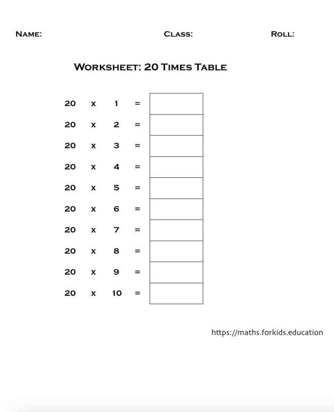 worksheet table 20-min