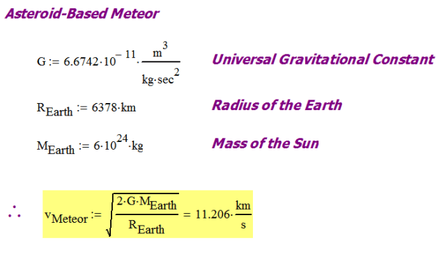 Figure 2: Illustration of Velocity for a Meteor Originating in the Asteroid Belt.