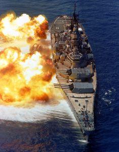 Figure 1: Broadside from Iowa-Class Battleship. (Source)