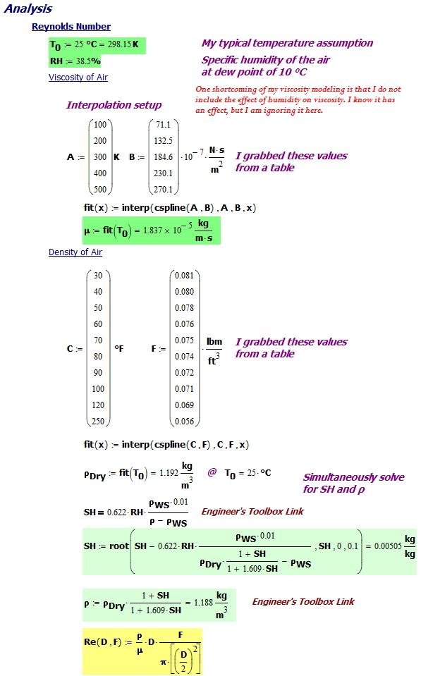 Figure 3: Calculation Setup and Reynolds Number Determination.