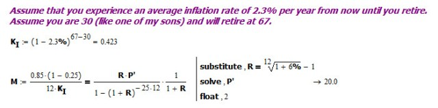 Figure 5: Calculation of the 20x Retirement Multiple.