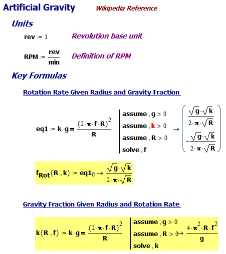 Figure M: Derivation of the Rotation Rate and Artificial Gravity Formulas.