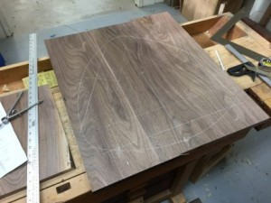 Figure 2: Table Layout on a Piece of Walnut.