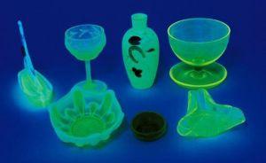 Figure 1: Glassware that Glows from Uranium Radioactivity.