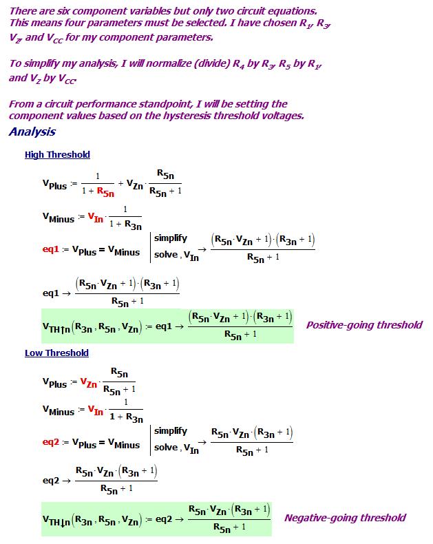 Figure 2: Equation Setup for the Push-Pull Schmitt Trigger.