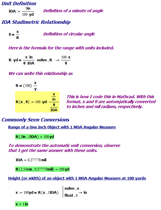 Figure 7: Example Using an Inch of Angle.