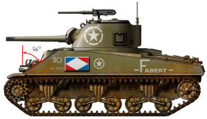 Figure 1: Front Armor Angle on Sherman is Angled at 56°.
