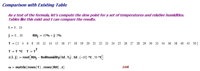 Figure M: Mathcad code for Generating Reference Table.